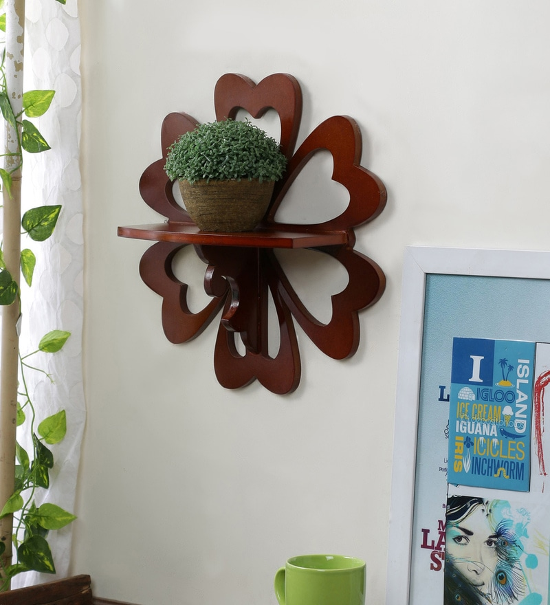Brown Engineered Wood Carved Shelf by Home Sparkle