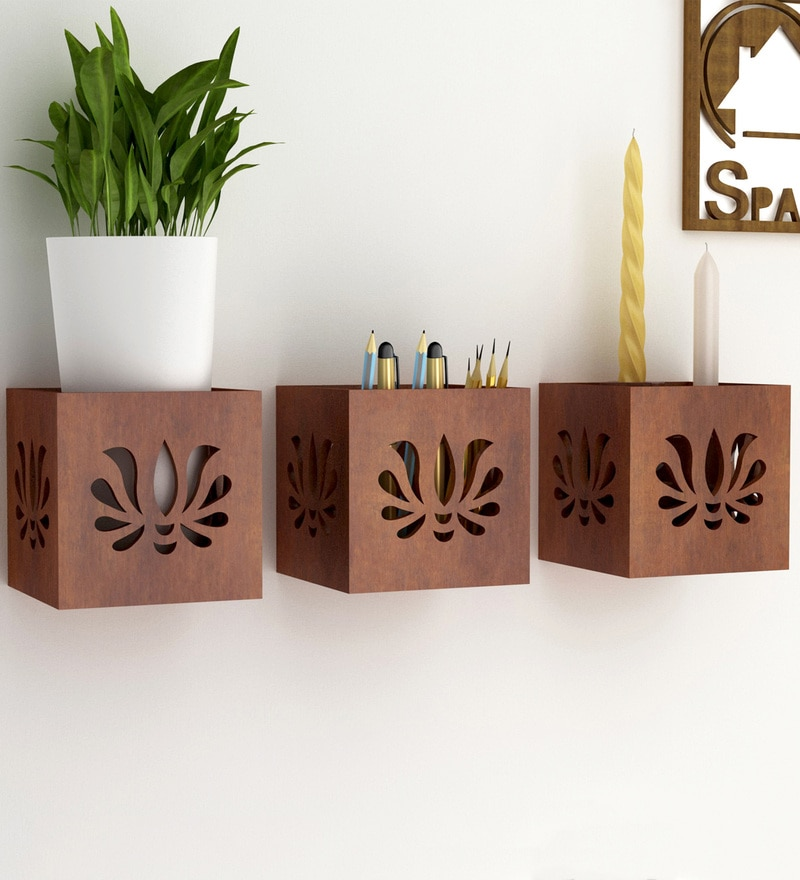 Brown Engineered Wood Hanging Tea Light Holder Cum Organiser - Set of 3 by Home Sparkle