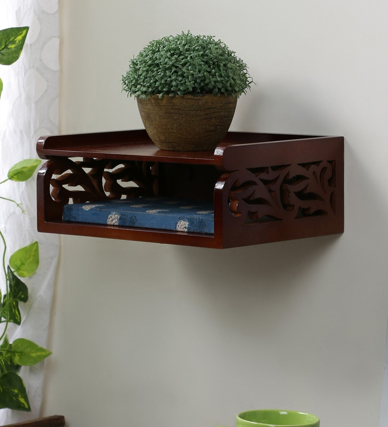 Brown Engineered Wood Set Top Box Holder by Home Sparkle