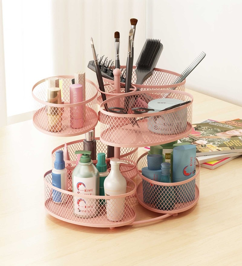 Home Sparkle Mild Steel Pink Rotating Makeup Organiser