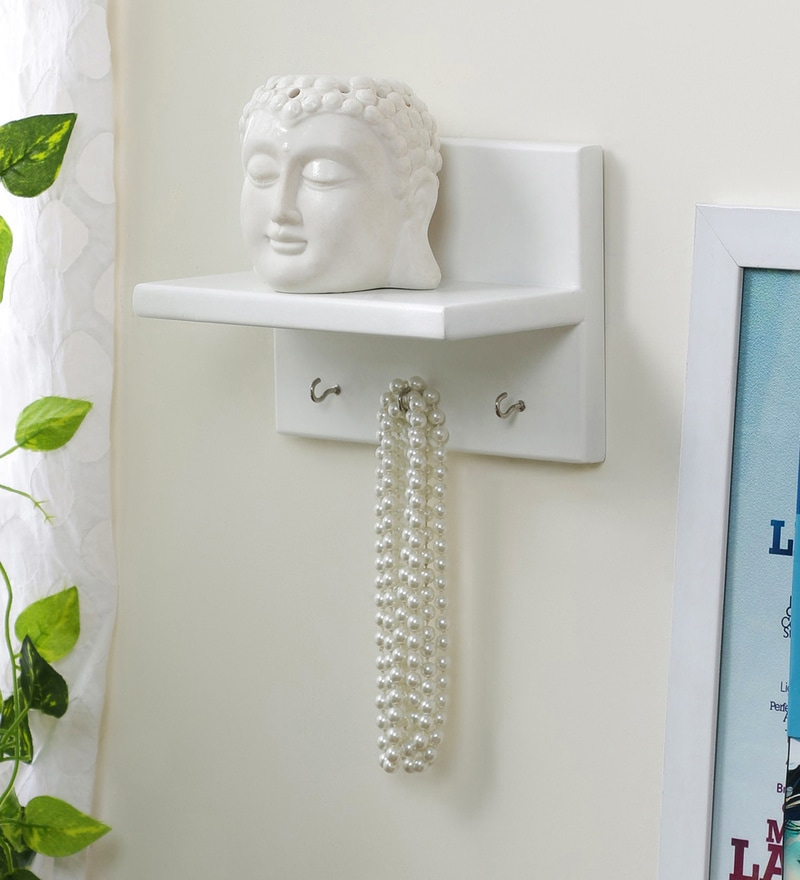 White Engineered Wood Wall Shelf with Key Hanger by AYMH