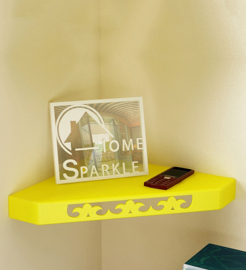 Yellow Engineered Wood Corner Wall Shelf By Home Sparkle