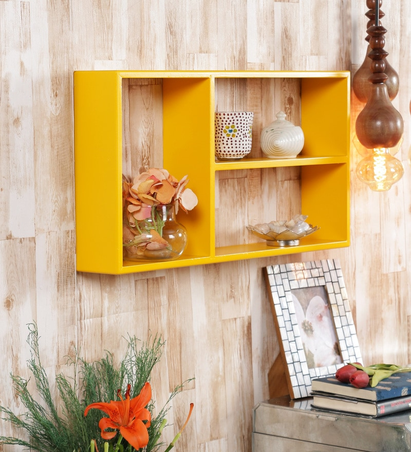 Yellow Engineered Wood Square Shelf by AYMH