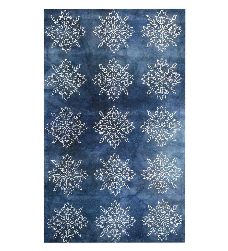 Blue Woolen Hand Tufted Carpet by Home Theory