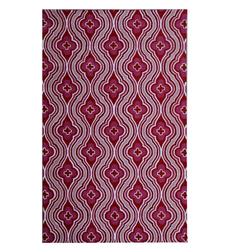 Pink Woolen Hand Tufted Carpet by Home Theory