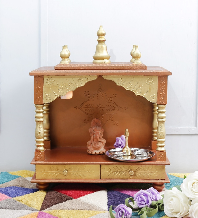 Gold MDF & Mango Wood Medium Home Temple by Homecrafts