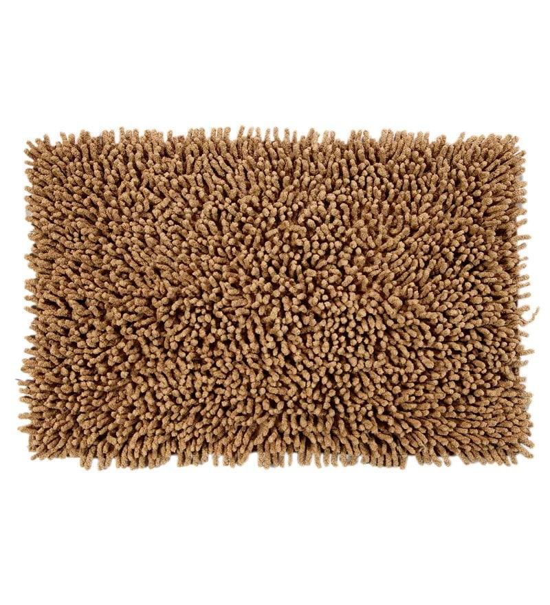 Beige Cotton 24 x 16 Inch Chevy Bath Mat by HomeFurry