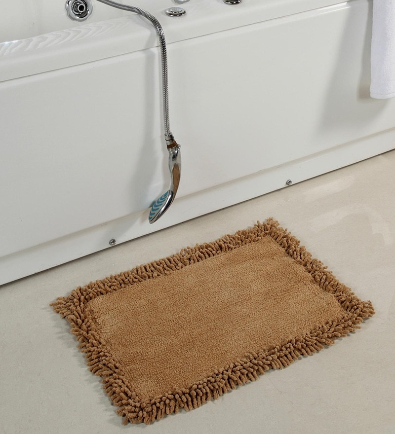 Beige Cotton 24 x 16 Inch Furry Style Bath Mat by HomeFurry