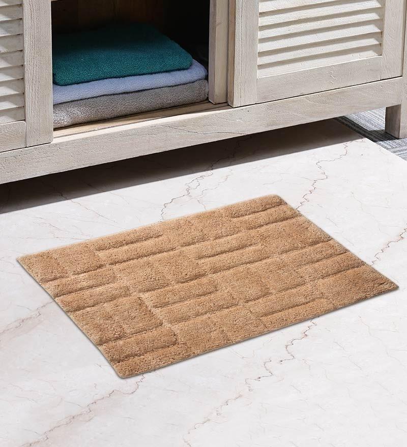 Beige Cotton 31 x 20 Inch Zigzag Door Mat by HomeFurry