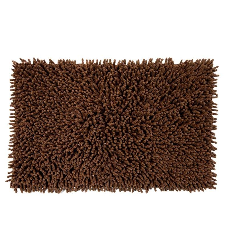Brown Cotton 24 x 16 Inch Chevy Bath Mat by HomeFurry