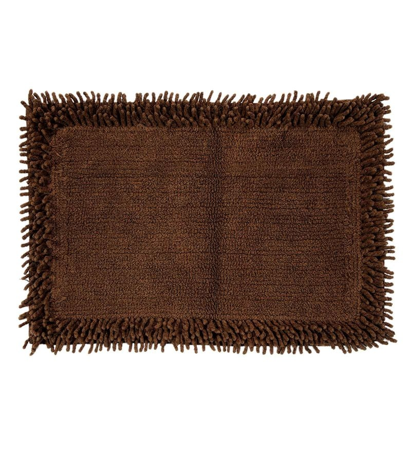 Brown Cotton 24 x 16 Inch Furry Style Bath Mat by HomeFurry