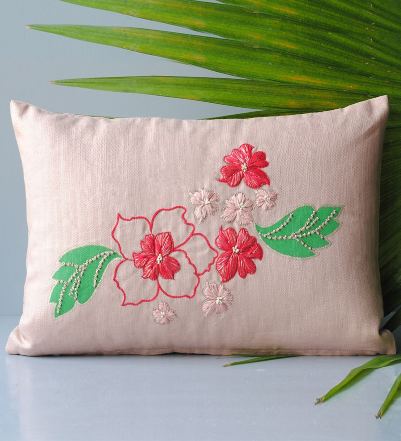 Homeight Pink Cotton 12 x 18 Inch Peony Hysteria Cascade Cushion Cover with Filler