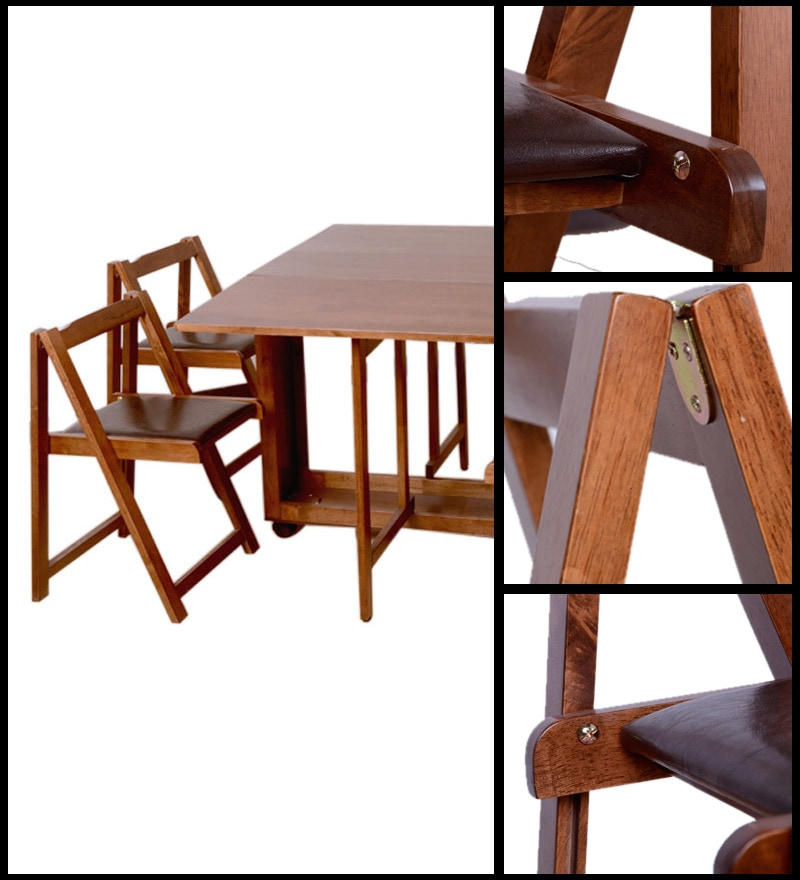Compact Dining Table And Chairs: Buy Compact 4 Seater Dining Set In Walnut Finish By