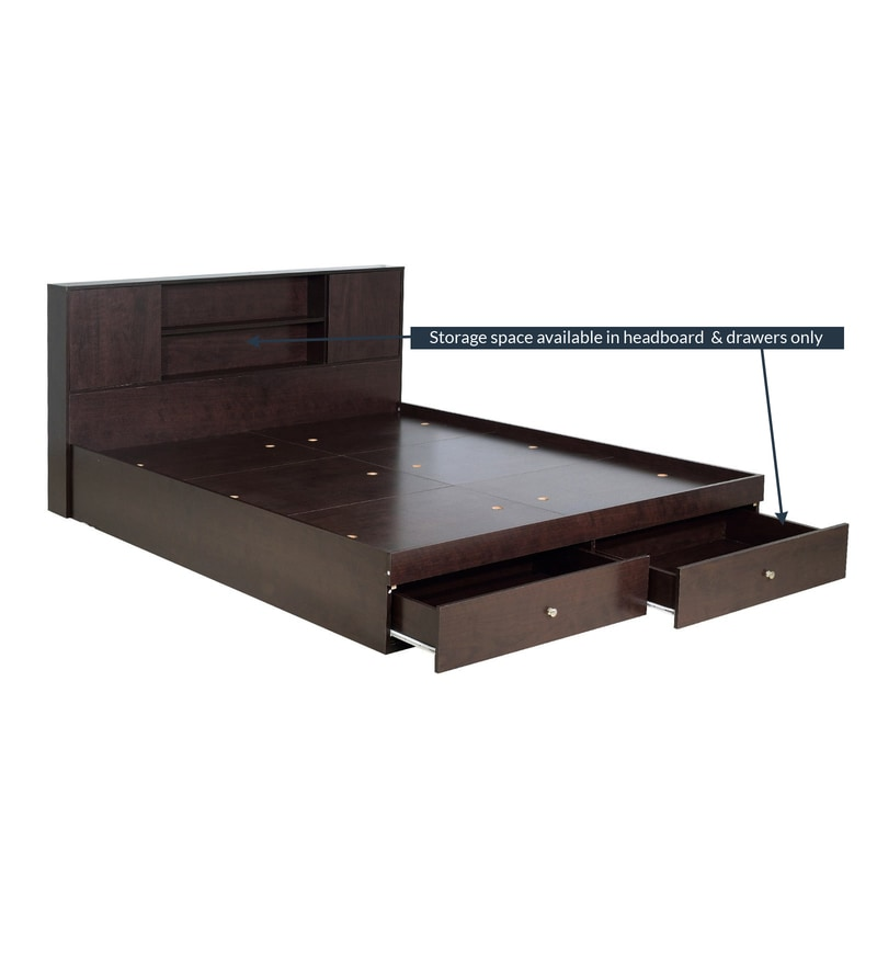 buy hoshi queen size bed with drawer storage in wenge finish by