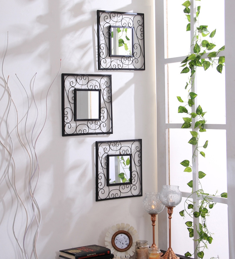 Black Iron & Glass Square Decorative Wall Mirrors - Set of 3 by Hosley