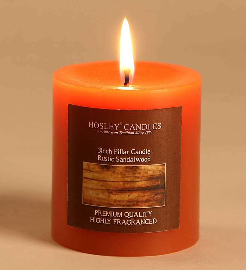 Rustic Sandalwood Brown Pillar Candle by Hosley