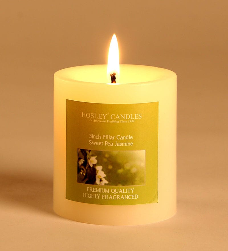 Sweet Pea Jasmine White Pillar Candle by Hosley