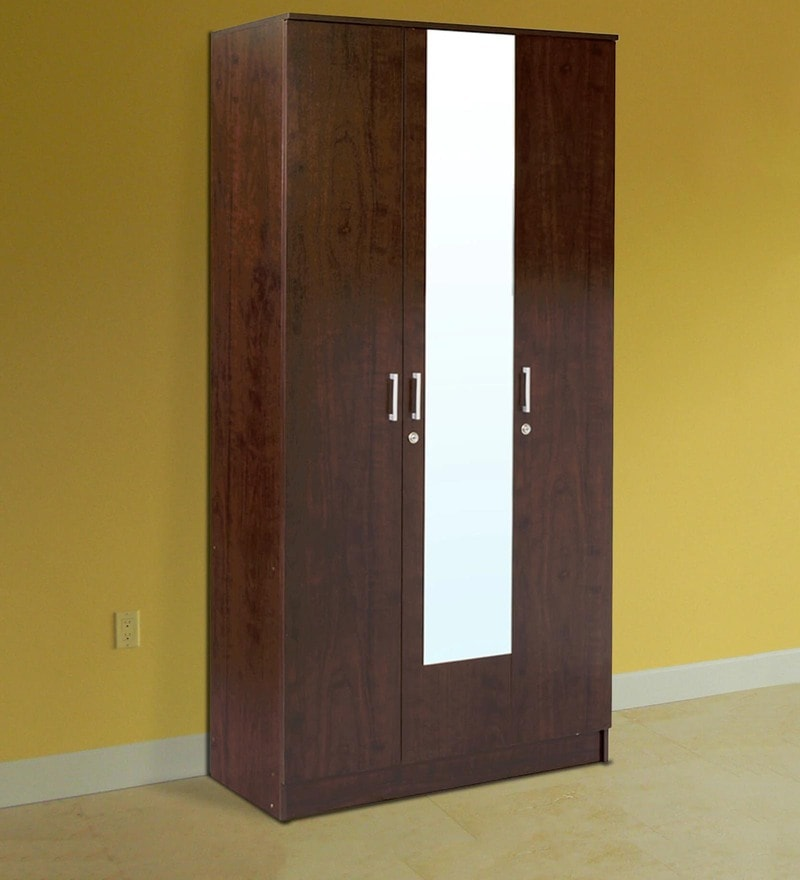 Hotaru Three Door Wardrobe with Mirror in Walnut Finish by Mintwud