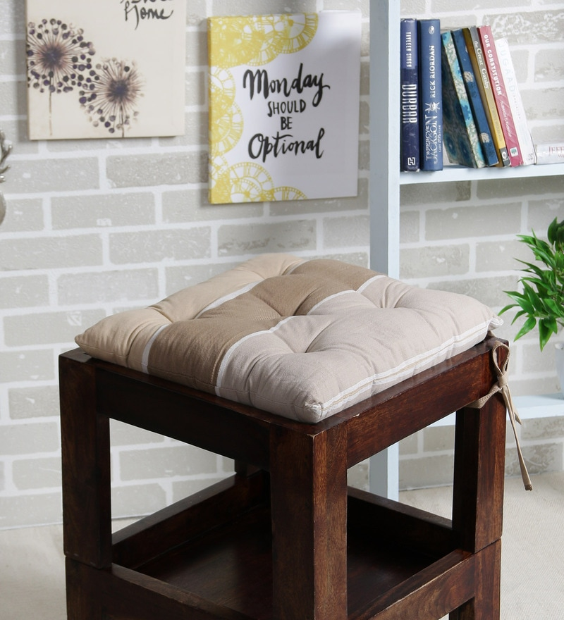 Beige Cotton 16 x 16 Inch The Barcode Stripes Chair Pad by House This