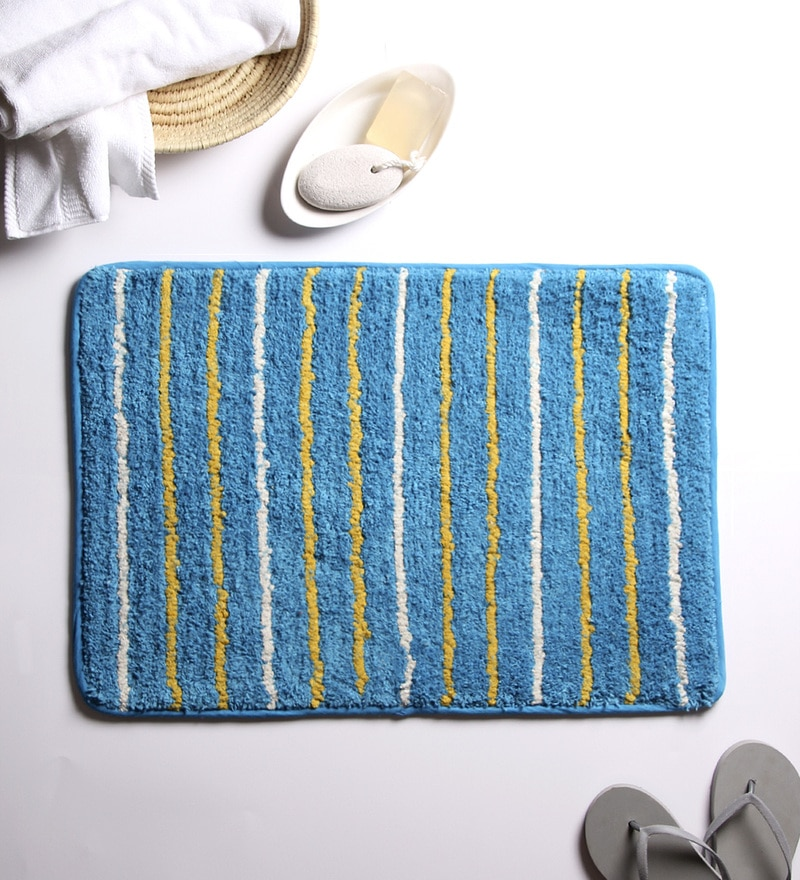 Blue 100% Cotton 18 x 24 Bath Mat by House This