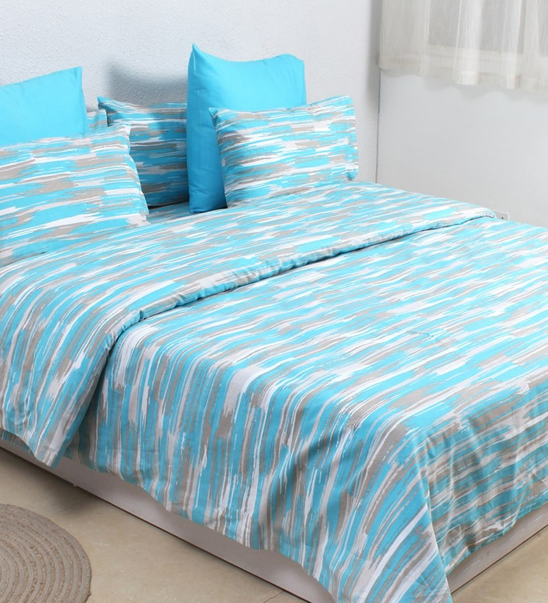 Blue 100% Cotton Single Size Duvet Cover by House This