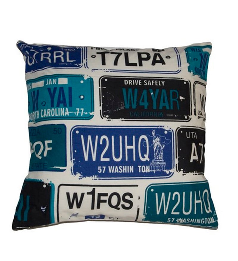 Blue Cotton 16 x 16 Inch Cushion Cover by House This