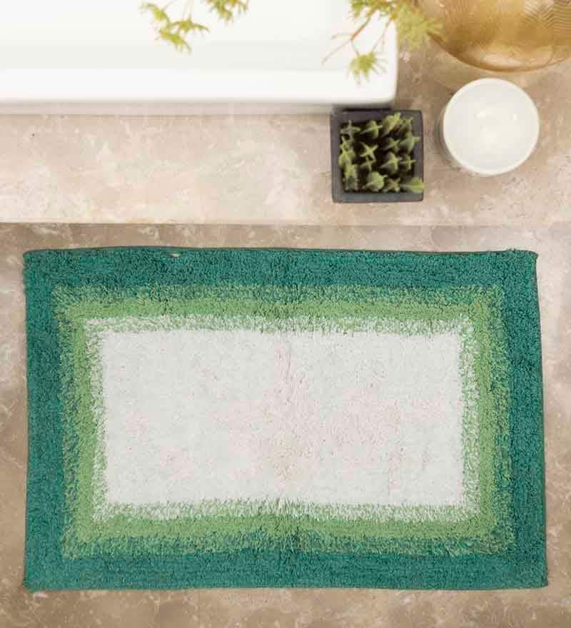 Green Cotton Bath Rug by House This