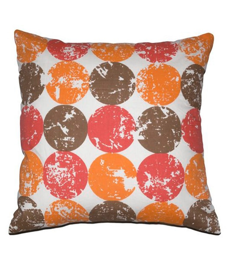 Pink & Yellow Cotton 16 x 16 Inch Cushion Cover by House This