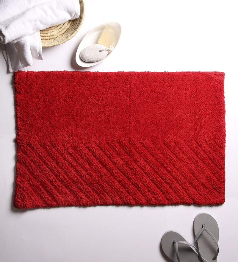 Red 100% Cotton 20 x 32 Bath Mat by House This