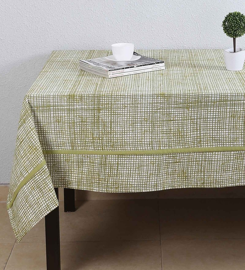 House This The Textured Checks Green Cotton Table Cover