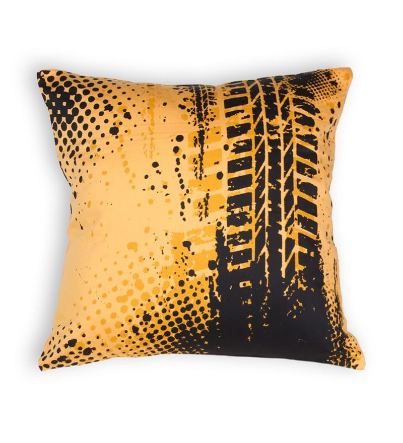 Yellow Cotton 16 x 16 Inch Bike-Tyre Tracks Cushion Cover by House This