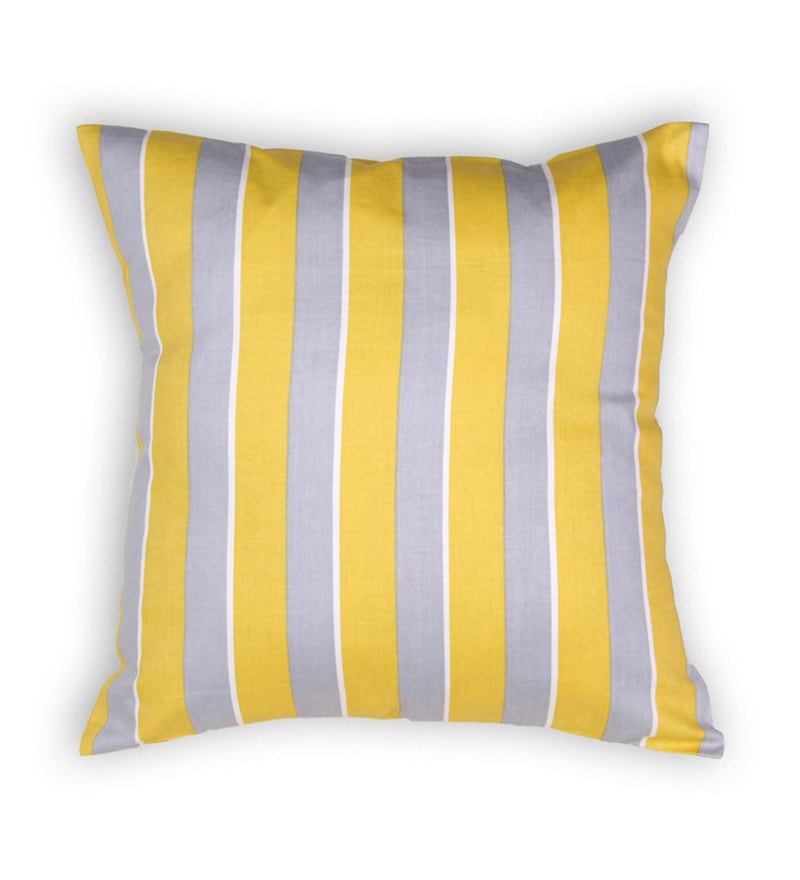 House This Yellow Cotton 16 x 16 Inch The Equi Stripes Cushion Cover