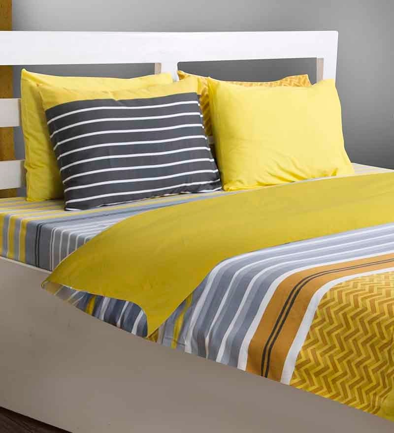House This Yellow Cotton Abstract 108x60 INCH Duvet Cover