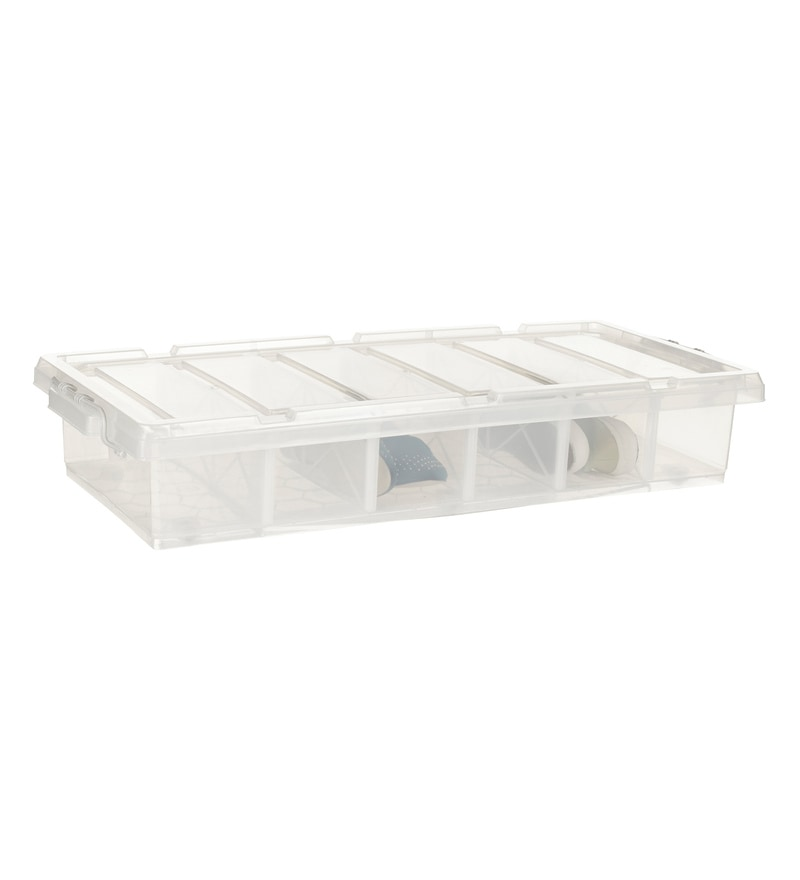 Howards Storage World Easi Store Underbed 6 Compartment Plastic Shoe Storage Box with Wheels