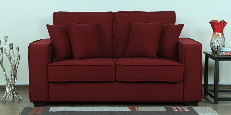 Hugo Two Seater Sofa in Garnet Red Colour by CasaCraft