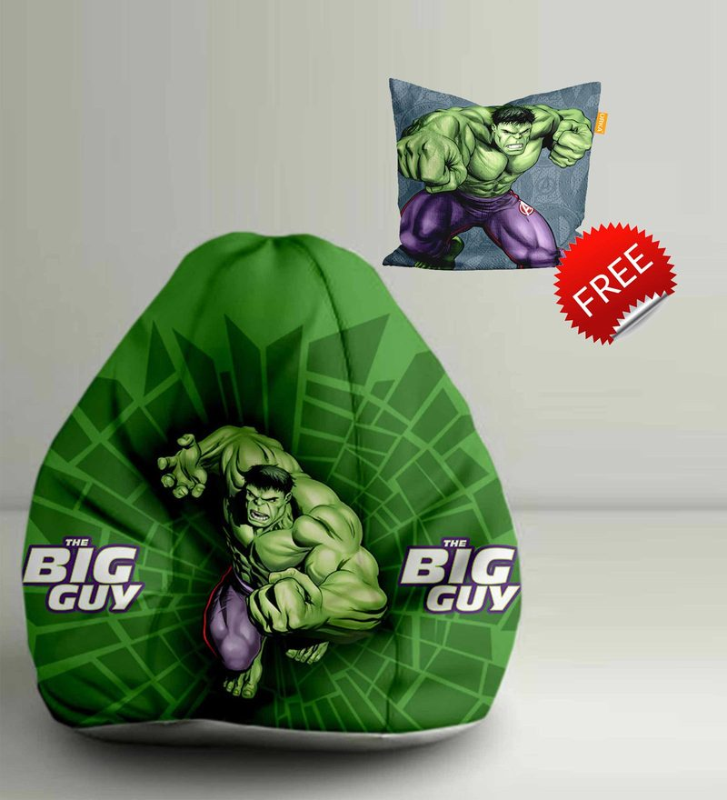 Hulk Character Digital Printed Bean Bag XXL Filled with Beans by Orka(With Small - cushion Inside)