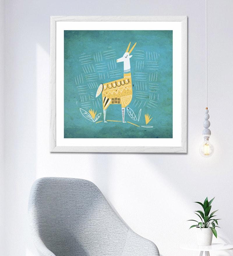 HULKUT  Sun Board 26 x 26 Inch Ethnic Deer Framed Art Print
