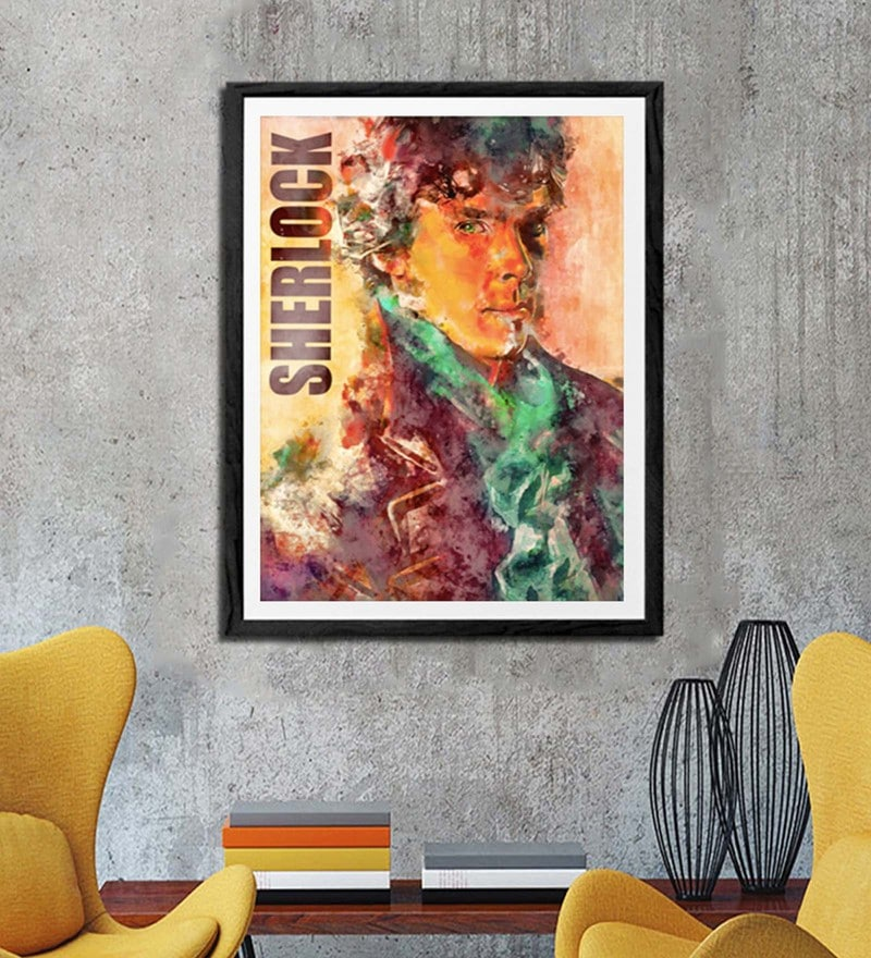 Sun Board 26 x 32 Inch Presents Sherlock Holmes Framed Poster by Hulkut