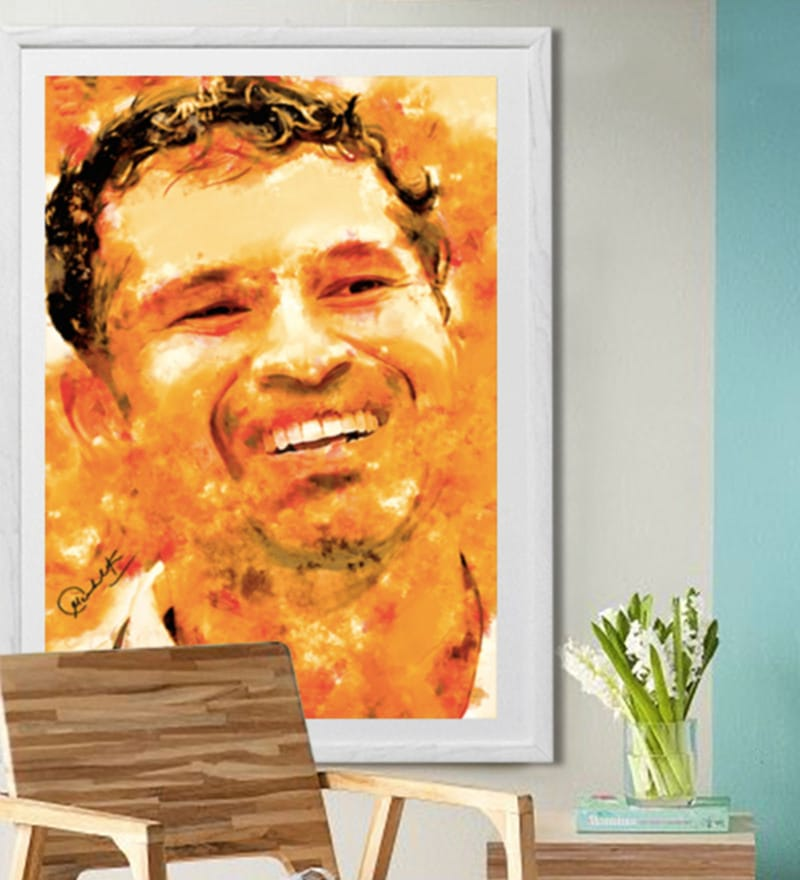Sun Board 26 x 38 Inch Presents Sachin - God of Indian Cricket Framed Poster by Hulkut