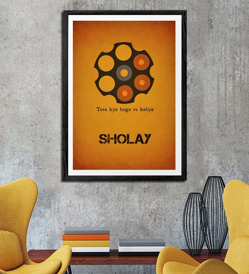 Sun Board 26 x 38 Inch The Sholay Framed Poster by Hulkut