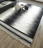 Black & White Wool & Cotton 120 x 96 Inch Hand Woven Space Dyed Reversible Flat Weave Carpet by Hyde Park