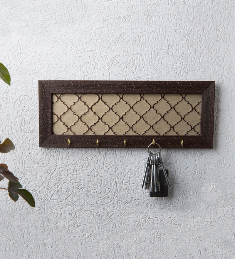 Beige Silk Embroidered Key Holder by I Village
