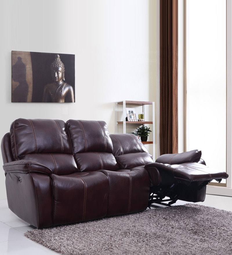 Iceland Three Seater Automatic Recliner in Red Brown Colour by Evok