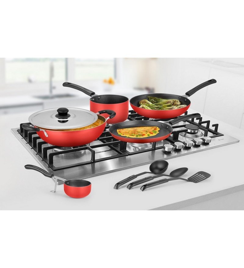 Ideale Red Aluminium Non Stick Cookware Set of 9