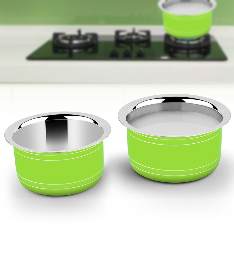 Green Stainless Steel Induction Friendly 2-Piece Cookware Set by Ideale