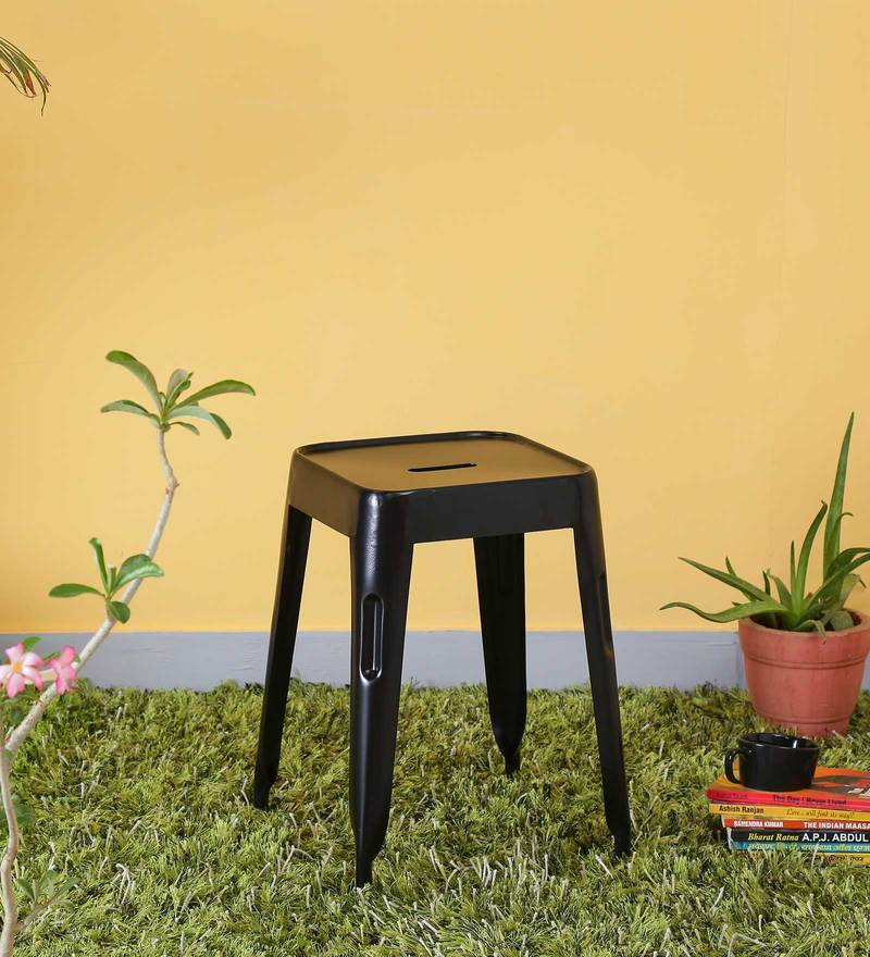 Iero Metal Stool in Black Colour by Bohemiana