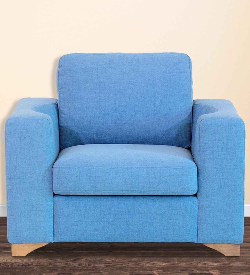 Iganzio One Seater Sofa in Sea Blue Colour by CasaCraft