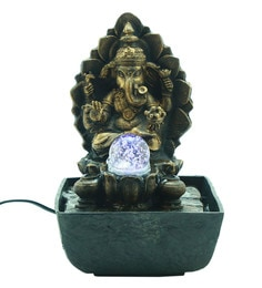 Indoor fountains buy indoor fountains online in india at best antique gold polyresin lord ganesha led water fountain workwithnaturefo