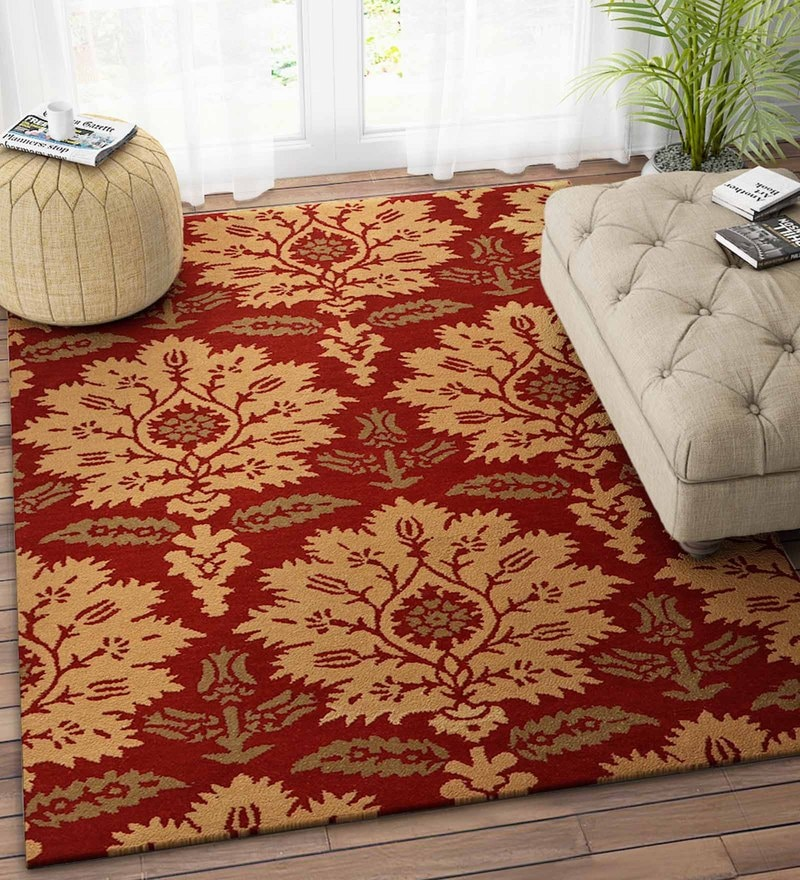 Imperial Knots Red Wool 48 x 72 Inch Paisely Carpet