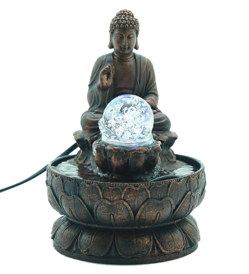 Buy lacasa white polyresin led light indoor water fountain online antique bronze polyresin blessing budha led table fountain by importwala workwithnaturefo